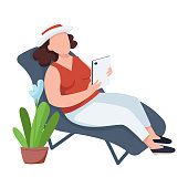 Woman with flowerpot, female on chaise-longue flat color vector faceless character. Home leisure, relaxation, recreation isolated cartoon illustration for web graphic design and animation