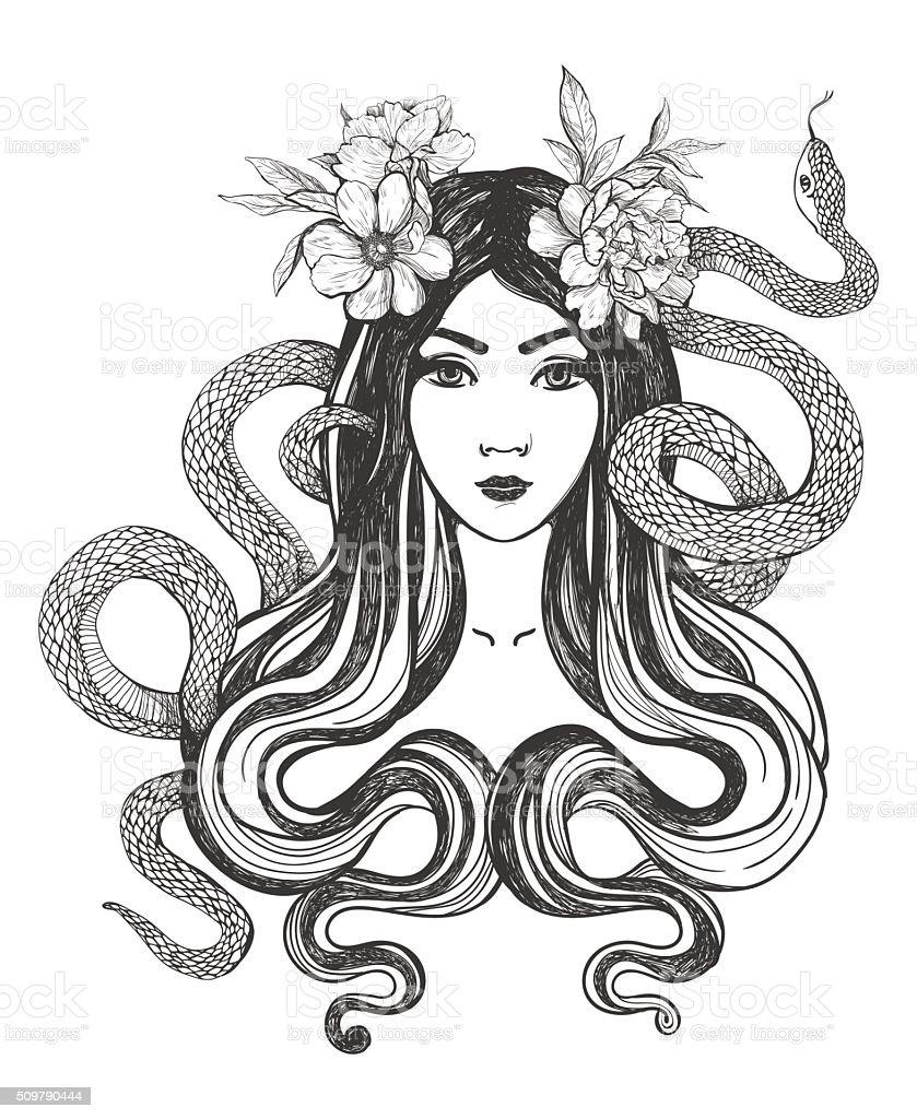 Femme Avec Des Fleurs Et Serpents Tatouage Art Cliparts Vectoriels