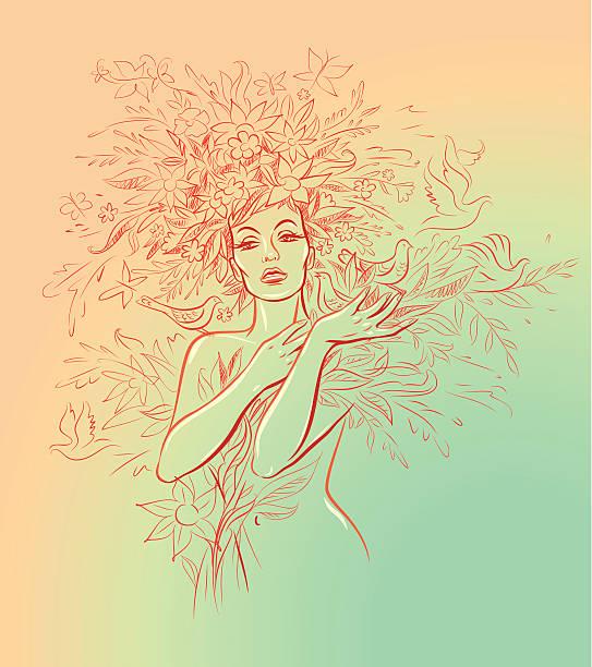 Frau mit Blumen, Vögeln und Schmetterlingen – Vektorgrafik