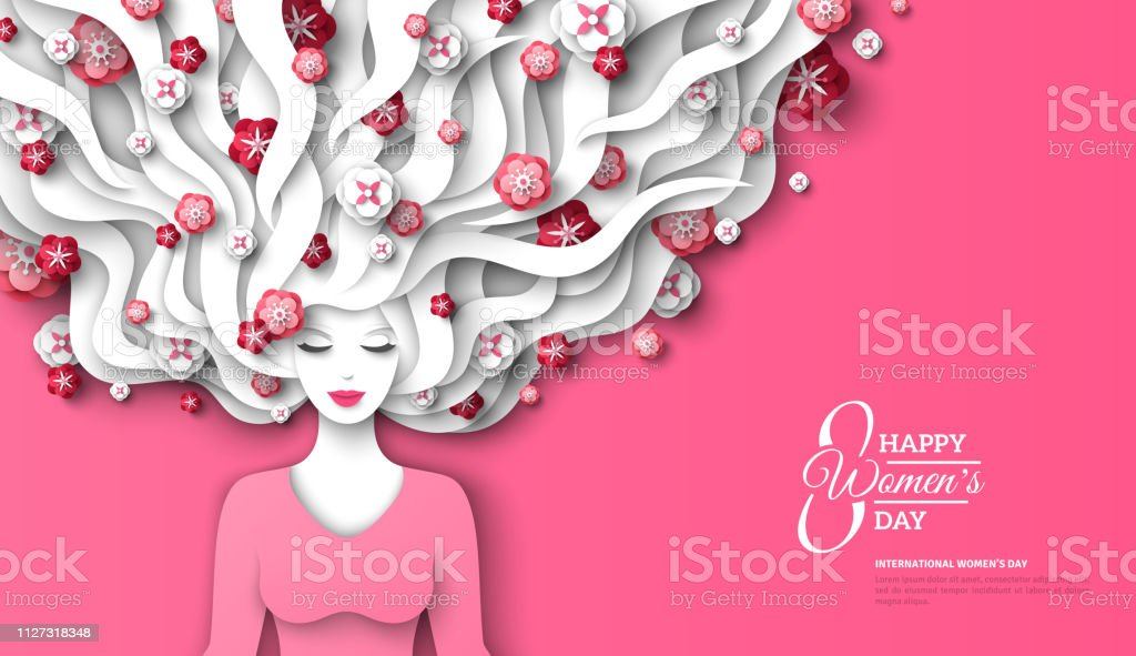 Woman with flowers in hair vector art illustration