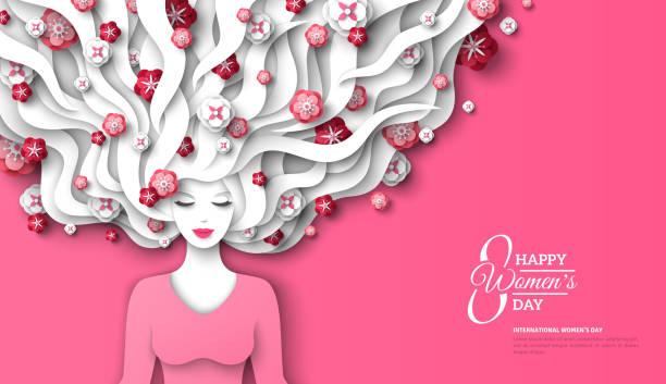 髪に花を持つ女性 - 美容室 3d点のイラスト素材/クリップアート素材/マンガ素材/アイコン素材