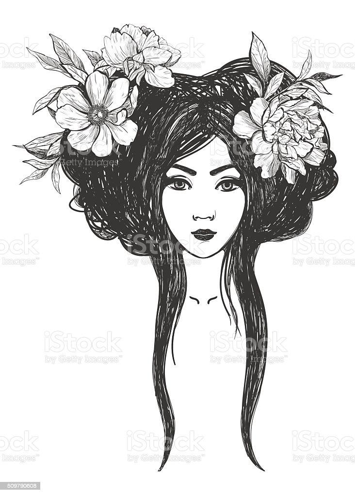 Femme avec des fleurs tatouage art des livres de coloriage - Fleur tatouage dessin ...