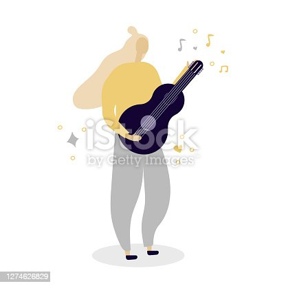 istock Woman with guitar, love music, festival, romance, music classes or education concept. Flat illustration. 1274626829