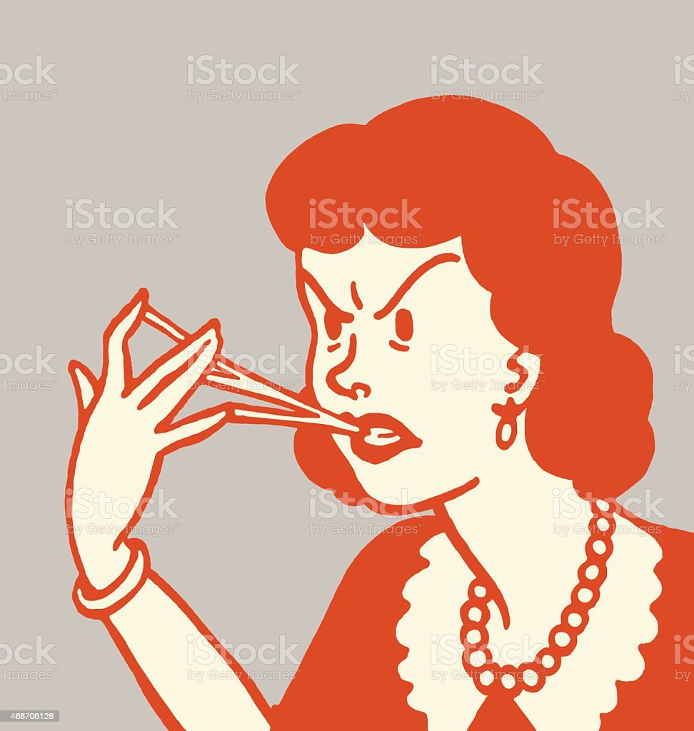Woman With Gum Stuck to Her Fingers vector art illustration