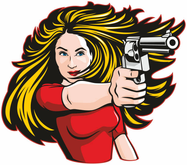 Woman With Gun vector art illustration