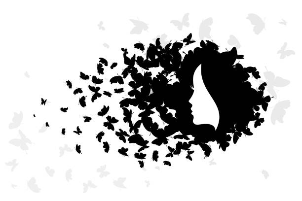 Woman with hair from butterflies. Vector isolated decoration element from scattered silhouettes. Conceptual illustration of beauty and style. Woman with hair from butterflies. Vector isolated decoration element from scattered silhouettes. Conceptual illustration of beauty and style. swarm of insects stock illustrations