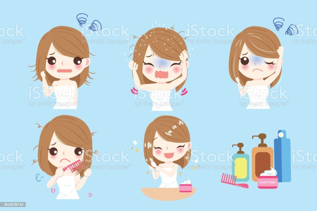 woman with hair problem royalty-free woman with hair problem stock illustration - download image now