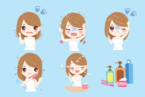 Woman With Hair Problem Stock Illustration - Download Image Now