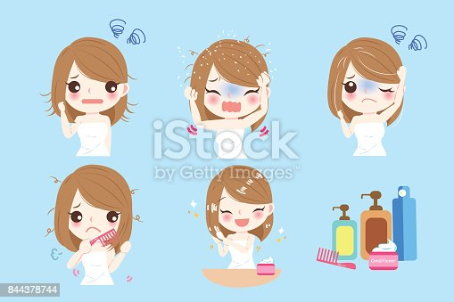Woman With Hair Problem Stock Vector Art & More Images of Adult 844378744