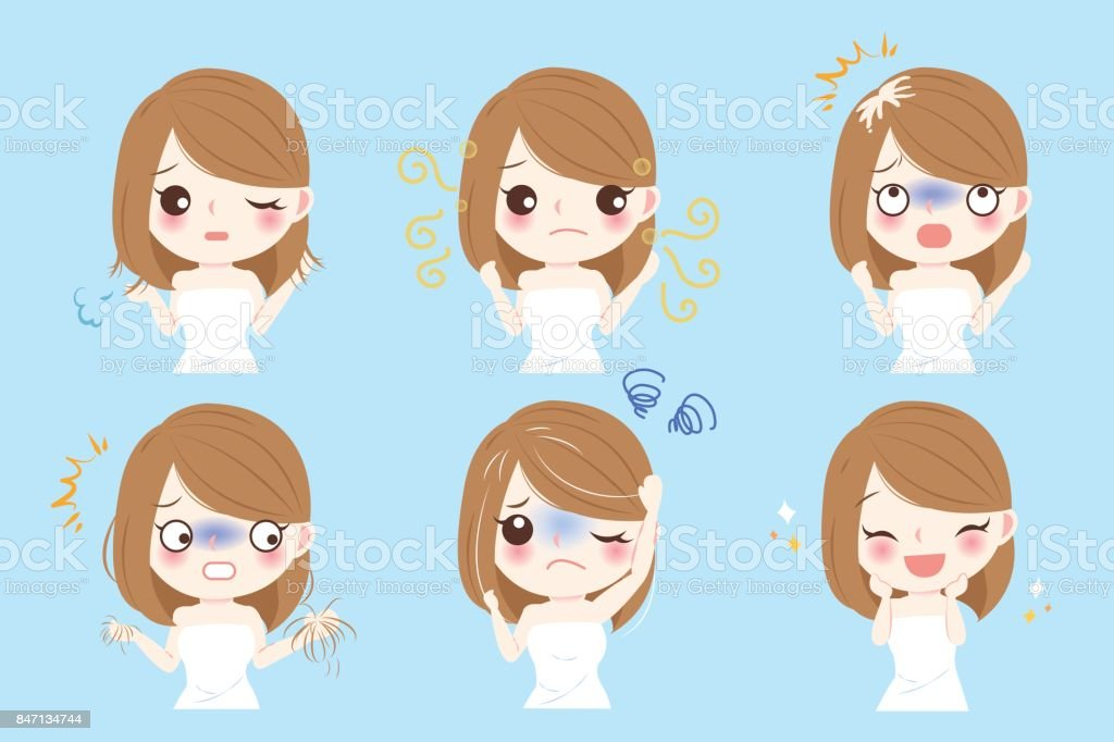 woman with hair problem vector art illustration