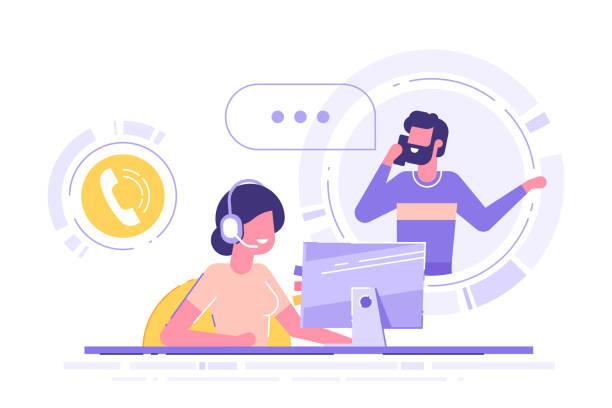 kobieta z zestawem słuchawkowym siedzi przy swoim komputerze i rozmawia z klientem. pomoc dla klientów, call center, operator infolinii, konsultant, wsparcie techniczne i obsługa klienta. ilustracja wektorowa. - obsługa stock illustrations