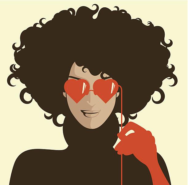 Kobieta z serca kształt okulary przeciwsłoneczne. – artystyczna grafika wektorowa