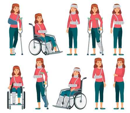 Woman with injury. Broken legs in plaster, arm and neck injuries. Sad female character in wheelchair, accident victim vector cartoon illustration
