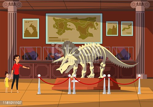 Woman with kid in museum flat vector illustration. Museum visitors cartoon characters. Cheerful mother and daughter looking at dinosaur bones. Prehistoric predator, triceratops skeleton exhibition