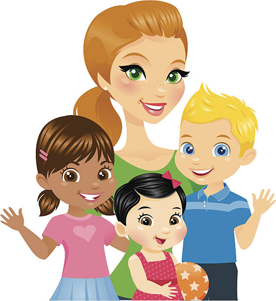 woman with kids - babysitter stock illustrations, clip art, cartoons, & icons