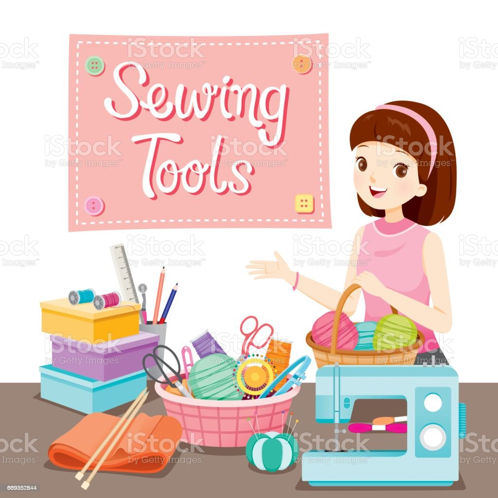 Woman With Knitting Wool In Basket And Sewing Kits Set vector art illustration