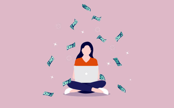 ラップトップとお金を持つ女性 - 利益点のイラスト素材/クリップアート素材/マンガ素材/アイコン素材