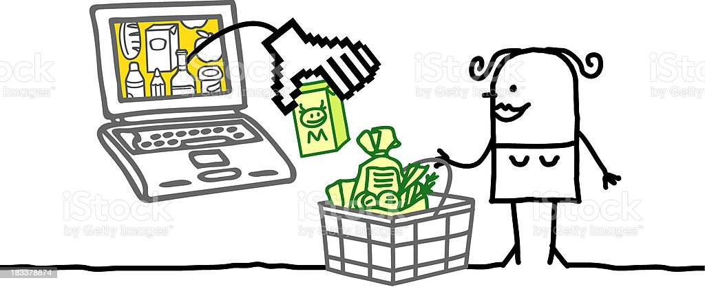 woman with laptop and shopping basket royalty-free stock vector art