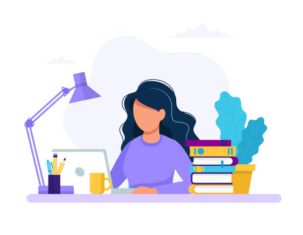 Woman with laptop, education or working concept. Table with books, lamp, coffee cup. Vector illustration in flat style vector art illustration
