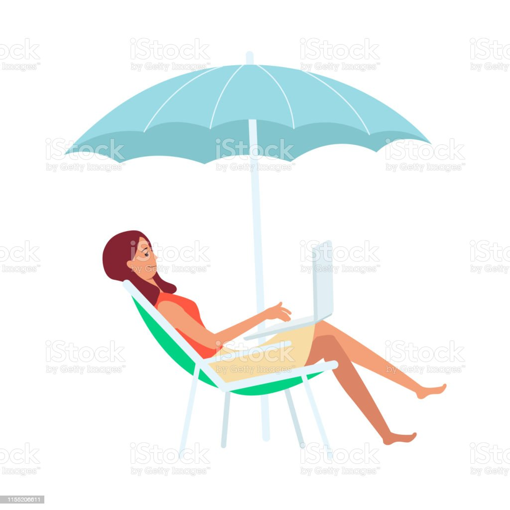 Woman With Laptop Sitting In Lounge Chair Under Umbrella Cartoon Style Stock Illustration Download Image Now Istock