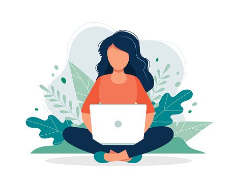 Woman with laptop sitting in nature and leaves. Concept illustration for working, freelancing, studying, education, work from home. Vector illustration in flat cartoon style