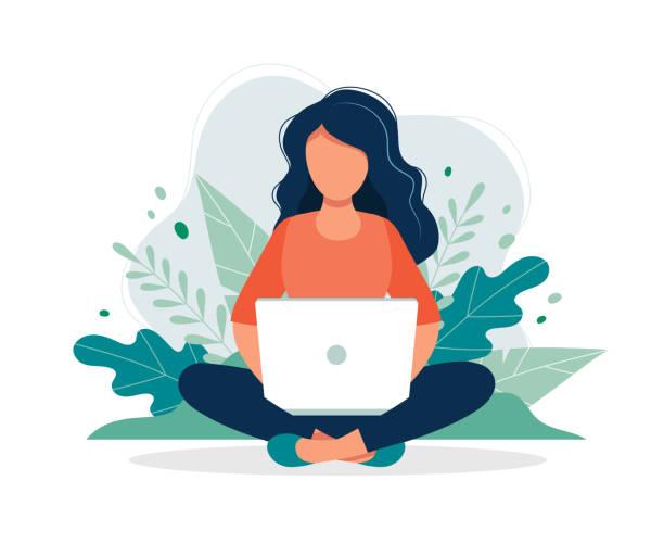 坐在大自然和樹葉與筆記本電腦的婦女。工作、自由職業、學習、教育、在家工作的概念插圖。向量例證在平的動畫片樣式 - 插圖 幅插畫檔、美工圖案、卡通及圖標