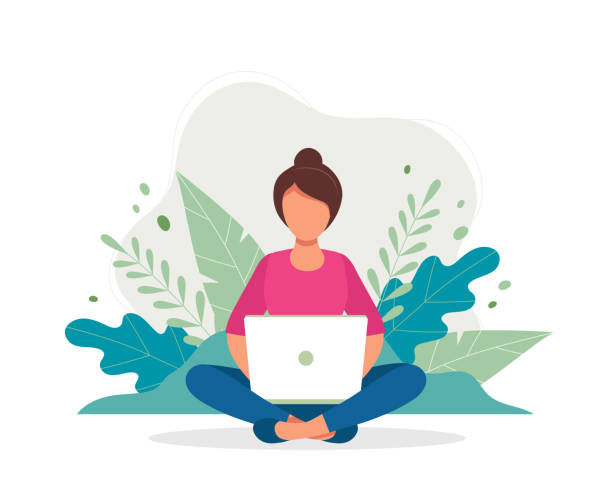 Woman with laptop sitting in nature and leaves. Concept illustration for working, freelancing, studying, education, work from home. Vector illustration in flat cartoon style vector art illustration