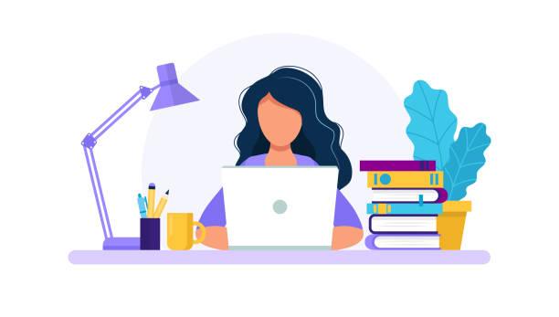 ilustrações, clipart, desenhos animados e ícones de mulher com portátil, estudando ou conceito de trabalho. tabela com livros, lâmpada, copo de café. ilustração do vetor no estilo liso - work