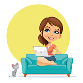 Illustration of a woman with laptop.