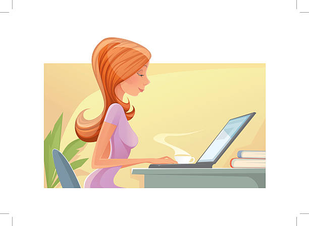 woman with laptop - redhead stock illustrations, clip art, cartoons, & icons