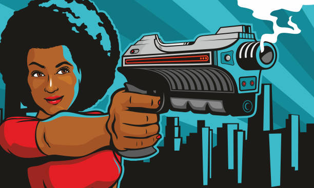 Woman With Laser Blaster Gun vector art illustration