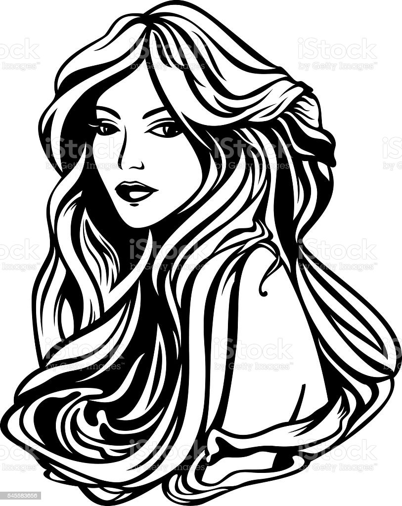 woman with long beautiful hair vector art illustration