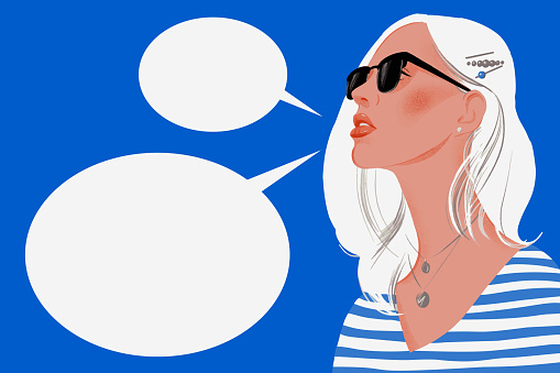 Woman with long blond hair wearing sunglasses and empty speech bubbles