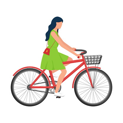 A woman with long hair in a dress with a purse over her shoulder rides a Bicycle with a basket. Urban environmental transport. Summer vector illustration. Isolated on a white background. flat style