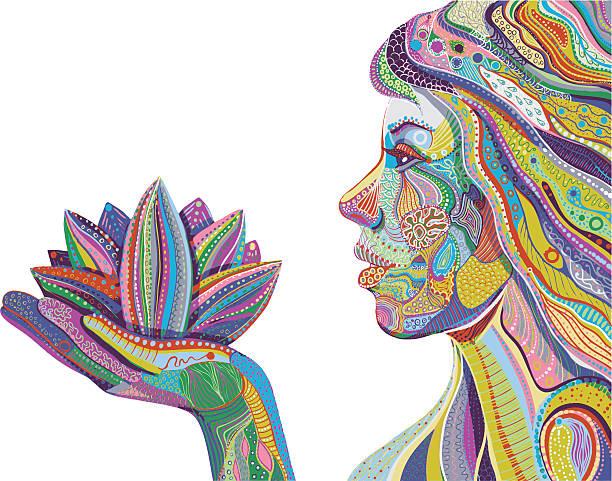 женщина с лотос цветок яркий причудливый узор вектор - духовность stock illustrations