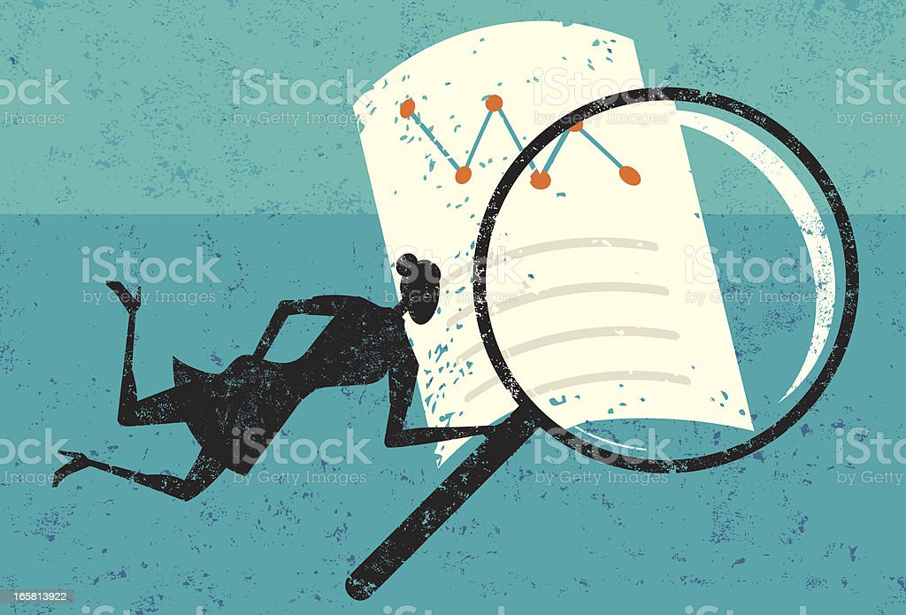 Woman with magnifying glass examining document royalty-free woman with magnifying glass examining document stock vector art & more images of adult