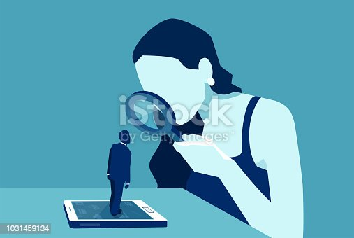 Vector of a woman with magnifying glass looking at a man standing on a modern gadget device, smartphone or tablet