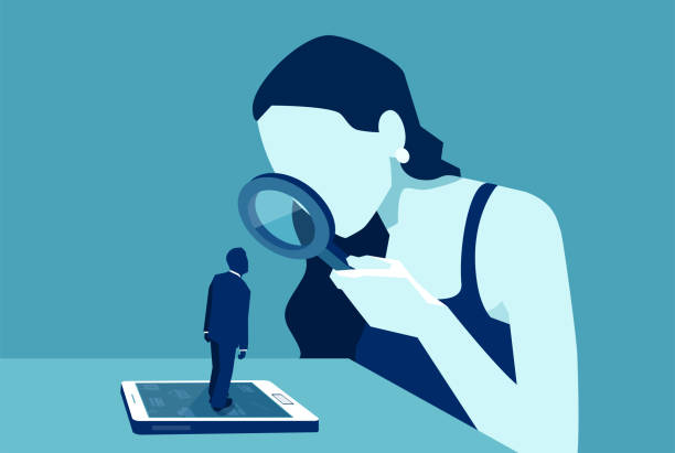 woman with magnifying glass looking at a man standing on a modern gadget device Vector of a woman with magnifying glass looking at a man standing on a modern gadget device, smartphone or tablet surveillance stock illustrations