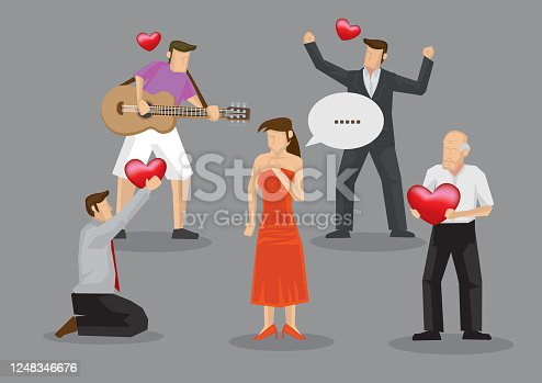 istock Woman with Many Suitors Cartoon Vector Illustration 1248346676