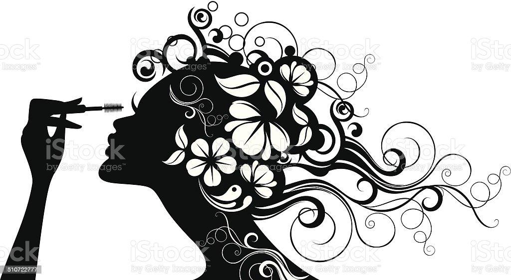 Kobieta z tusz. - Grafika wektorowa royalty-free (Czarno biały)