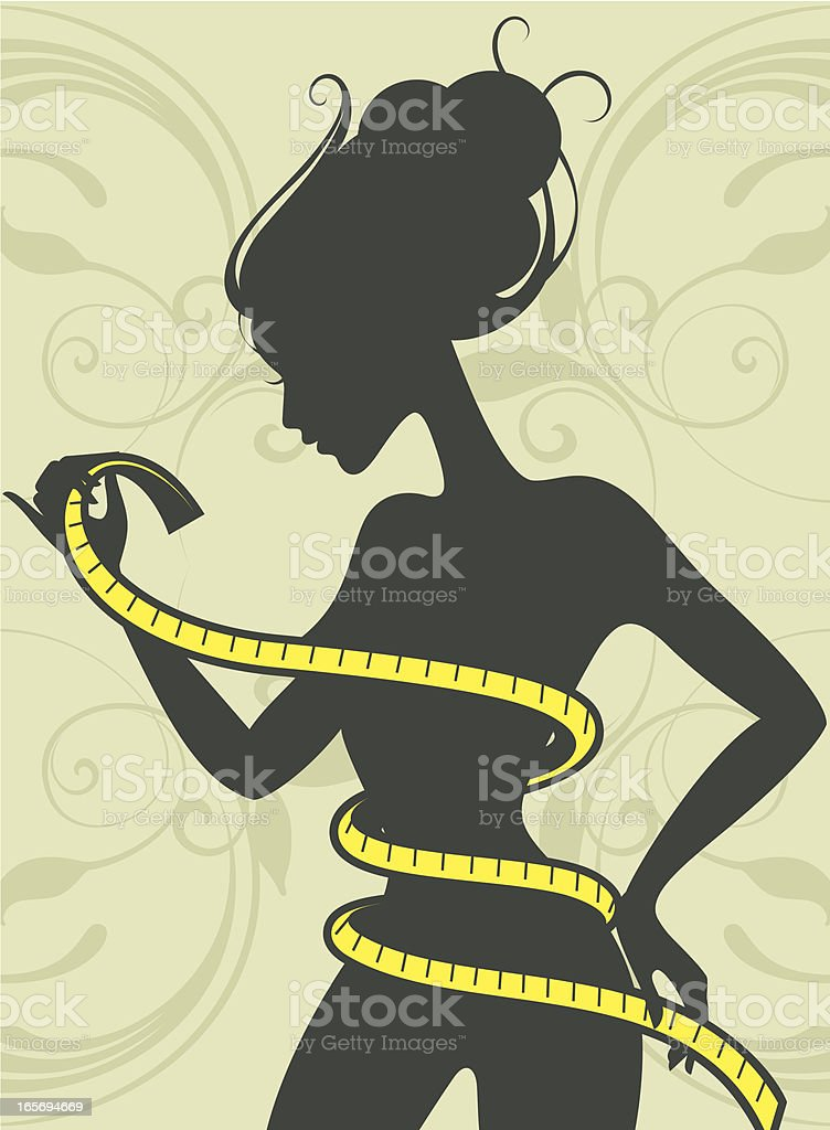 Woman with measure-tape. royalty-free stock vector art