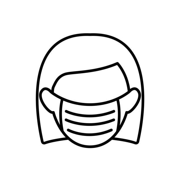 frau mit medizinischer maske symbol in luftverschmutzung konzept - flat icons stock-grafiken, -clipart, -cartoons und -symbole