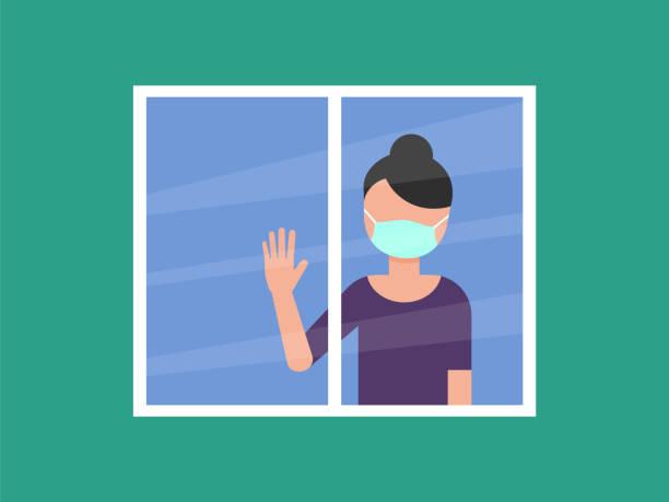 illustrazioni stock, clip art, cartoni animati e icone di tendenza di woman with medical mask looking through the window. coronavirus prevention. - hand on glass covid