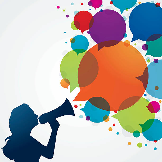 Woman with megaphone and speech bubbles vector art illustration