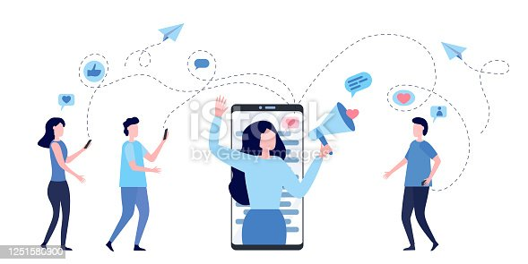 Woman with megaphone on a screen of smartphone. Blogger surrounded with her followers. Concept of influencer marketing, social media promotion services, SMM. Flat vector illustration.