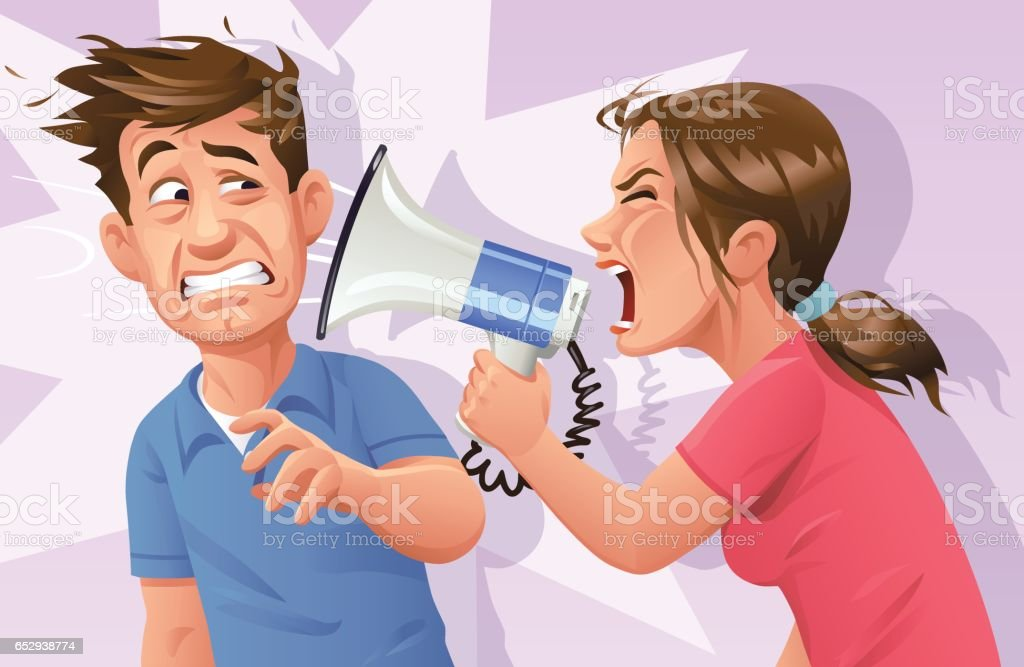 Woman With Megaphone Screaming At Man vector art illustration