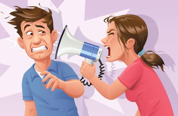 stockillustraties, clipart, cartoons en iconen met vrouw met megafoon gillen bij man - couple fighting home