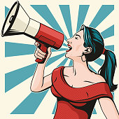 Retro pop art illustration of a pretty and sassy young woman shouting into a megaphone.