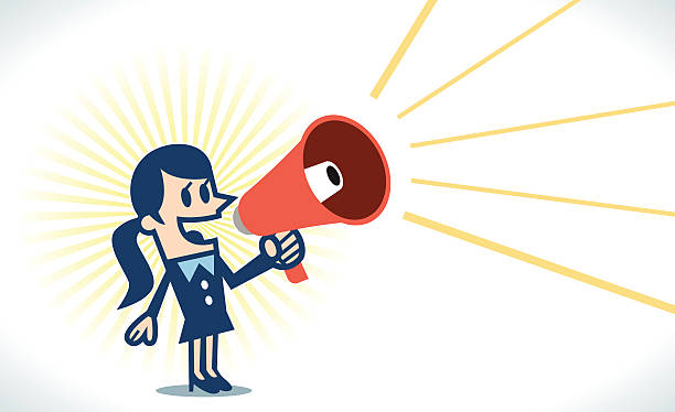 Woman with megaphone Woman with megaphone. good news stock illustrations