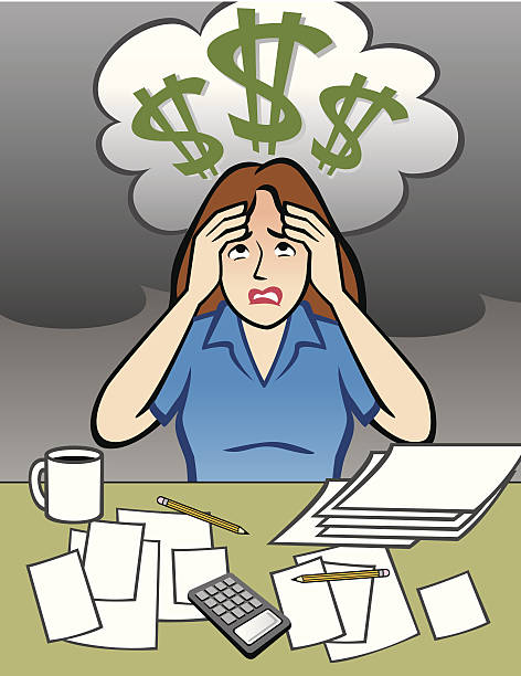 Woman with Money Problems vector art illustration